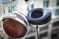 DENON Headphones with wood earcups Denon Headphones, Over Ear Headphones, Bang And Olufsen, Tech Gadgets, Good Things, Pairs, Wood, Wednesday, Gentleman