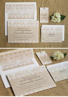 Burlap and Lace Wedding Invitation Suite