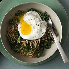 This unique #MeatlessMonday #recipe is packed with antioxidants, protein, and one-third of your daily iron needs! Spaghetti With Wilted Greens and Walnut-Parsley Pesto. | Health.com
