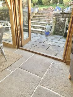 Old Stone Cottage Case Study - Hidcote Flagstones 03 Flagstone Flooring, Flagstone Patio, Brick Patios, Cottage Interiors, Cottage Homes, Cottage Style, Barn Conversion Interiors, Oak Framed Extensions, Sandstone Wall