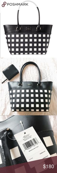 """NWT Kate Spade Small Margareta Black & White Tote ADORABLE and brand new WITH tags """"Small Margareta"""" Tote in black and white Grove Street Printed Popartchck print! This bag is the perfect size for a tote with measurements of 16"""" x 10"""" x 5"""" - matching wallet available! kate spade Bags Totes"""