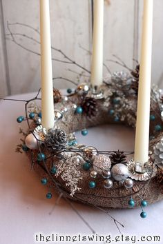 Glittering Forest Advent Wreath - Holiday Table - Candle Decor - Christmas Decoration - Yule