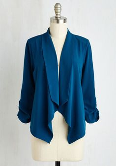 Marketing Maven Blazer in Aqua. In this rich blue jacket, you look fittingly lively for planning events, designing campaigns, and beyond. #gold #prom #modcloth