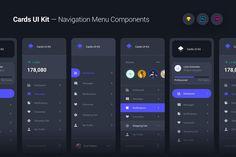 Cards UI Kit - Navigation Menu Components Widgets by panoplystore on Envato Elements Design Android, Ios Design, Mobile Ui Design, Web Design Trends, Graphic Design, Web Dashboard, Dashboard Design, Ui Website, Website Layout
