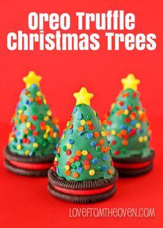 No Bake Oreo Truffles Christmas Trees