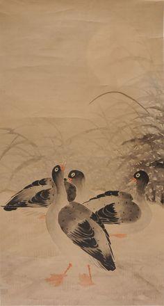 CHINE, DYNASTIE QING (1616-1912)  Rouleau peint aux canards.    100x55cm - 39.5x21.5''