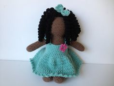 African American Crochet Faceless Doll Amigurumi by pigswife