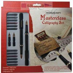 Manuscript Masterclass Calligraphy Set Yan Kesik 2 Kalem + 4 Uç + 12 Renkli Kartuş + Çalışma Bloğu ( Sol El )