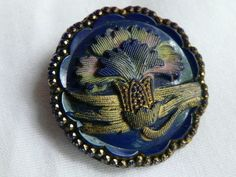 Antique Cobalt Blue Glass Button w/Carnation Flower