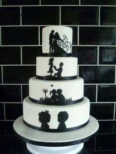 awesome wedding cake idea for a couple who grew up together