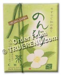 Cha Green Tea Bath Salts from Aroma Japan - Three 25g Packets, 75g total ... green tea in your bath .. grab our green tea soap, light a green tea incense stick and remake your soul.  Can you stand it?