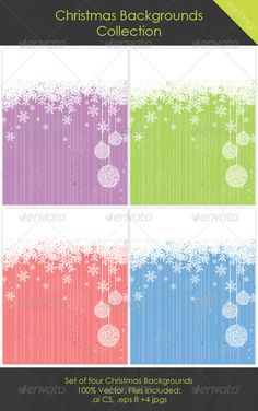 Christmas Backgrounds  #GraphicRiver        Christmas Backgrounds Collection 100% Vector, clipping mask used. Each background grouped and on separate, named layers. Files included:   .eps 8  .ai CS  4 .jpgs (3221px x 4026px 300dpi)  Global swatches used – easy to change colour      Created: 6November11 GraphicsFilesIncluded: JPGImage #VectorEPS #AIIllustrator Layered: Yes MinimumAdobeCSVersion: CS Tags: backdrop #background #bauble #blue #christmas #collection #copyspace #design #green…
