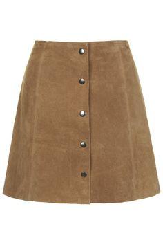 Suede Button Through A-Line Skirt