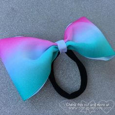 Tailless pink and teal ombre cheer bow - Bling Bow Love - 1