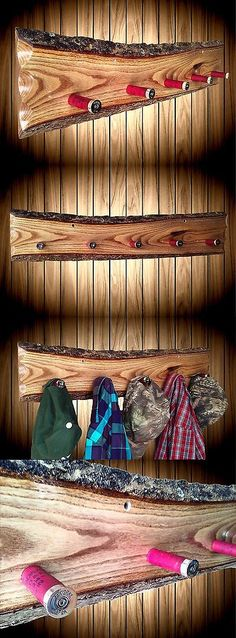 Home Decor: Rustic Wood Hat Coat Rack Wall Display Live Edge 5 Hangers Home Cabin Decor BUY IT NOW ONLY: $93.5
