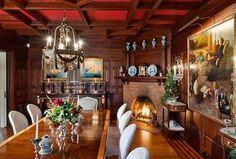 Craftsman Dining Room with Crown molding, Hardwood floors, Chandelier