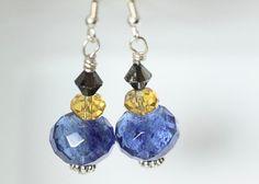 Blueberry Quartz Earrings Smoky Swarovski Crystal Blue by ScoSiCa, $13.50
