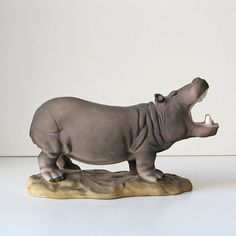 Hippopotamus figurine, porcelain hippo, hippo figurine, hippo sculpture, wild animal figurine, animal home decor by ruralrootsvintage on Etsy https://www.etsy.com/listing/158634928/hippopotamus-figurine-porcelain-hippo