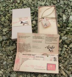 Vintage boarding pass invitations