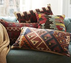 Norton Kilim Lumbar Pillow Cover #potterybarn. I bought some of these lovely Kilim's for Rancho Mirage.