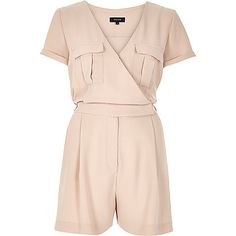 Light pink wrap short sleeve playsuit - playsuits - playsuits / jumpsuits - women | £45 | | #JustArrived | #RiverIsland | #JustArrivedWW