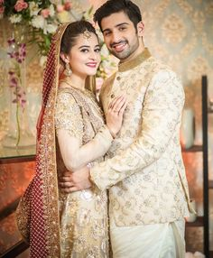 Let's Take a Look at all of Aiman Khan's Wedding Dresses Indian Wedding Couple Photography, Wedding Photography Poses, Wedding Poses, Wedding Photoshoot, Wedding Couples, Wedding Stage, Wedding Shoot, Pakistani Bridal Dresses, Pakistani Wedding Dresses