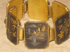 Vintage Japanese Damascene Inlay Six-Paneled Metal BRACELET CPO Stamped   eBay