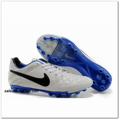 Nike Tiempo Genio Leather V Reflective FG White Black Blue $61.00