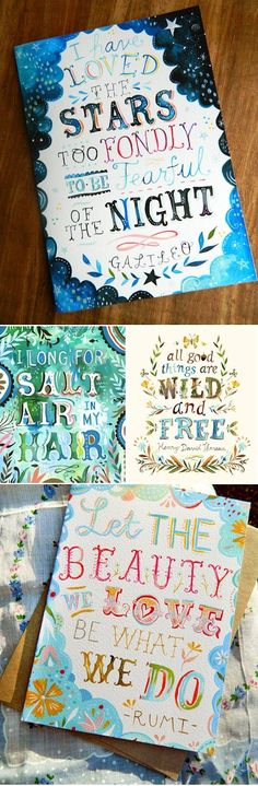 Gorgeous hand painted lettering by The Wheatfield by Katie Daisy Diy Tableau, Schrift Design, Little Presents, Arts And Crafts, Diy Crafts, Art Graphique, Crafty Craft, Crafting, Painting Inspiration