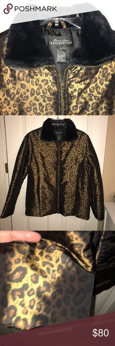 EUC🆕💙FABULOUS FURS💙Leopard Puffer Coat/Jacket EUC 🆕LISTING💙FABULOUS FURS by Donna Salyers💙Leopard Zip up Puffer Coat/ Jacket. Size- M. 2 Front Pockets. Faux Black fur collar. Shell: nylon / Polyester, Lining: Polyester, Trim: Polyester/ Acrylic. Original cost $179 from SAKS. Looks BRAND NEW‼️ Fabulous Furs Jackets & Coats Puffers