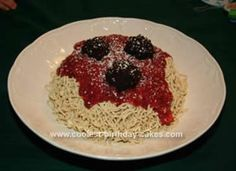 Homemade Lady & The Tramp Spaghetti Cake: My daughter loves dogs and fell in love with Lady & The Tramp the first time she watched the movie. We had the idea for months to make a spaghetti cake