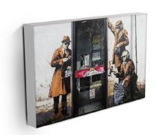 New graffiti art from Banksy - appeared in Cheltenham and shows 3 government agents spying on a telephone box. Framed and ready-to-hang canvas print available here http://www.modern-canvas-art.com/government-agent-spies-34541-p.asp