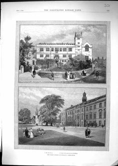 Antique Print of 1896 Great School Shrewsbury England Architecture