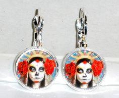 Ohrringe Totenkopf Glas Cabochon Metall Legierung Ohrschmuck Modeschmuck Ø14mm