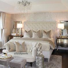 Likes 355 Comments Interior Design & Home Decor ( Master Bedroom Design, Dream Bedroom, Home Decor Bedroom, Bedroom Ideas, Champagne Bedroom, Home Interior, Interior Design, Interior Architecture, Silver Bedroom