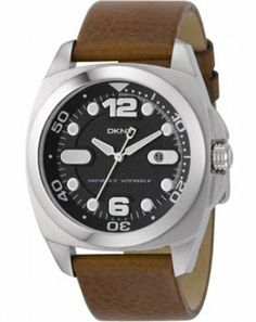 DKNY Men's NY1434 Brown Leather Quartz Watch with Black Dial DKNY. $96.49. Quartz Movement. 50 Meters / 165 Feet / 5 ATM Water Resistant. Mineral Crystal. 39mm Case Diameter