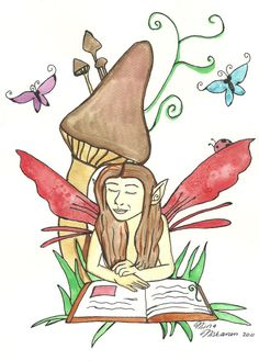 Reading Time  Fairy Art Print 5 x 7  Fantasy Art  by fairychamber