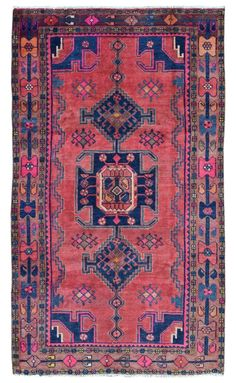Design Hamadan Size 4 6x7 10 Color Pink Blue Multi Colored Rugsrunner