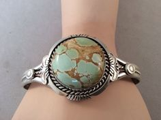 NAVAJO ~GREEN ROYSTON TURQUOISE~SIGNED ~STERLING ~BRACELET