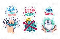 """Virus Lettering Stickers Set contains 3 vector cartoons badges with washing hand by soap with bubbles, virus with crown and toilet paper with hand drawn text """"Wash your hands"""", """"Stop Virus"""", Stickers, Protection Symbols, Poster Drawing, Graphic Illustration, Medical Illustration, Creative Illustration, Hand Hygiene, Symbol Design, Lettering"""