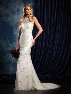Halterneck wedding dress with glitter detail by Alfred Angelo
