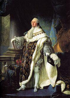 """Louis XVI van Frankrijk door Antoine-François Callet in 1788. Geëxecuteerd door de guillotine op 21 januari 1793 als een ontheiligde Franse burger """"citoyen Louis Capet"""". Hij is de enige koning van Frankrijk die ooit geëxecuteerd werd."""