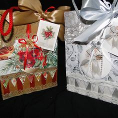 Luxury Christmas Gift Bags Christmas Tree Background, Christmas Bunting, Christmas Rose, Shabby Chic Christmas, Luxury Christmas Gifts, Christmas Gift Bags, Paper Carrier Bags, Unique Cards, Antique Lace