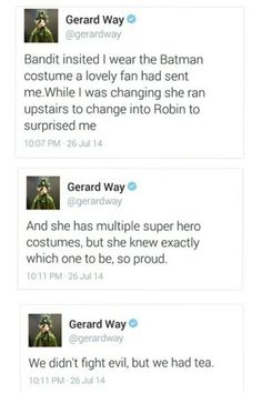 Parenting done right lol got to love Gerard