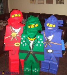 LEGO Ninjago: Jay, Kai & Lloyd - These are adorable!  Wish I could make these for my son.