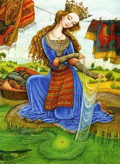 Illustration by Katerina Shtanko. Eslava, Ukrainian Art, Fairytale Art, Russian Art, Whimsical Art, Book Illustration, Figure Painting, Retro, Fantasy