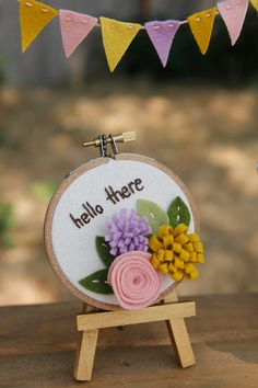 Hello There // Embroidery Hoop Art with Felt Flowers // Sweet, Feminine in Lavender, Mustard and Pink