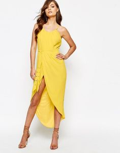 Shop TFNC Pleated Wrap Front Midi Dress with Belt at ASOS. Order now with multiple payment and delivery options, including free and unlimited next day delivery (Ts&Cs apply). Ball Gowns Evening, Women's Evening Dresses, Ball Dresses, Short Dresses, Yellow Midi Dress, White Wrap Dress, Wrap Front Dress, Ruched Dress, Belted Dress