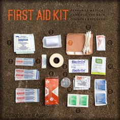 DYI: Make and Pack your own first aid kit. this could come in handy! Camping Survival, Camping And Hiking, Camping Gear, Camping Hacks, Backpacking, Basic First Aid Kit, Band Aid, How To Treat Acne, Natural Medicine