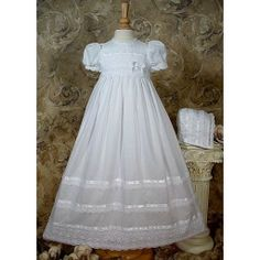 "Cluny Lace Christening Gown ""Molly"", White,"